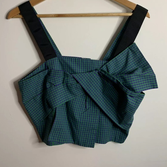 H&M Tops - Gingham Green & Purple H&M Size 10 Bow Crop Top